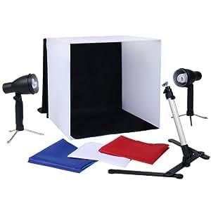 Fotozelt Lichtwürfel Fotobox inklusive Lampen, Stativ und Hintergründe ca. 40x40x40cm