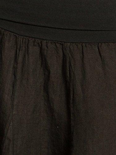 CASPAR RO014 Damen Leinenrock mit figurfreundlichem Stretch Bund Schwarz