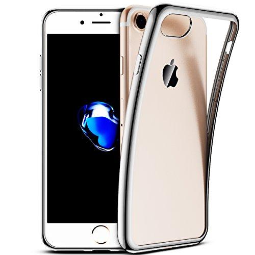 SMART LEGEND iPhone 7 Weiche Silikon Hülle Kratzfeste Plating Case Weiche Silikon Hülle TPU Bumper Transparent Handyhülle Durchsichtig Schutzhülle Backcover Crystal Kirstall Clear Etui Ultraslim Glatt Grau