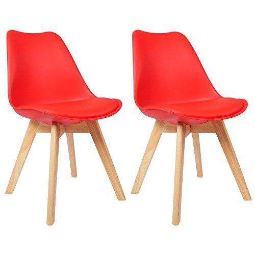 WOLTU 2 Chaises de Salle à Manger Cuisine/Salon chaises,Design en Similicuir et Bois Massif,Rouge BH29rt-2
