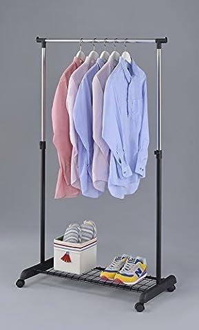 fahrbare Kleiderstange auf 4 Rollen mit Teleskopstange und Schuhablage 2191