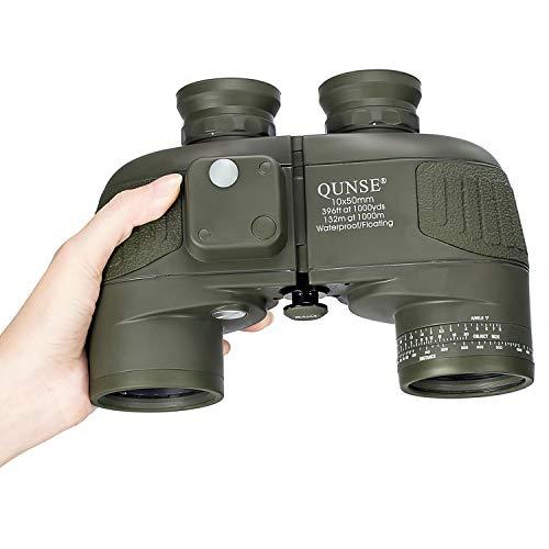 QUNSE BAK4 Militärisches Nautisches Fernglas 10x50, mit entfernungsmesser - Entfernungsmessen mit dem Kompass, großes Objektiv für weites Feld