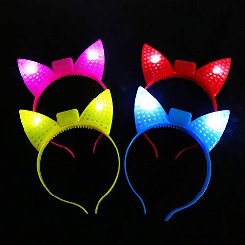 Cuigu Katze Ohr Haarband, LED Leuchten Blinkende Glow Stirnband Weihnachten Neujahr Haarbänder Haarschmuck Weihnachten Neujahr Party Supplies Für Frauen Mädchen