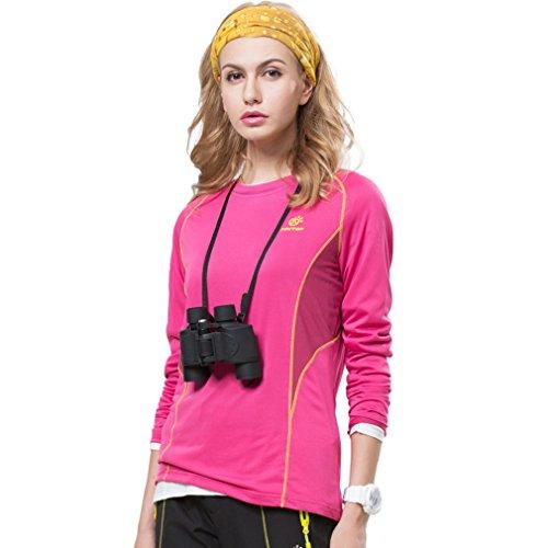 Femmes extérieur manches longues pour homme séchage rapide T Tés Vêtements pour Sport Randonnée Escalade Roseo