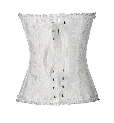 Pampel Damen Bridal Wäsche schnürt sich oben Satin ohne Knochen Korsett Cincher Shaper Body Tailenmieder Weiß