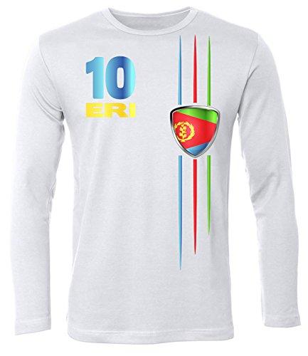 Eritrea Fussball 5475 Fanshirt Fan Shirt Tshirt Fanartikel Artikel Männer Herren T-Shirts Longsleeve Langarm Weiss M