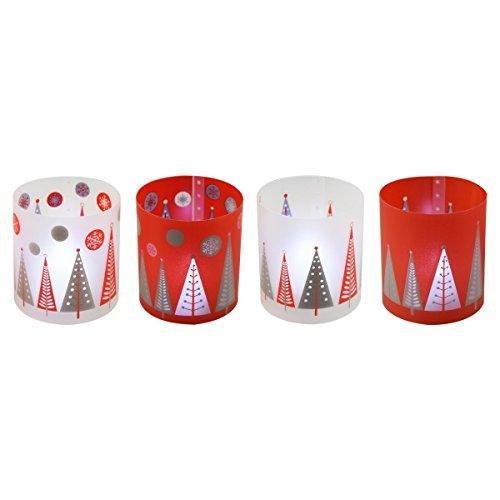 Incidencia Paris 54505Christmas portavelas + vela LED polipropileno rojo/blanco juego de 4