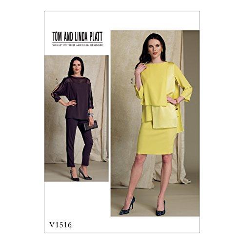 Satin Seitlicher Reißverschluss, Hose (Vogue Mustern 1516E5Misses Top, Rock und Hose, Tissue, Mehrfarbig, Größen 14-22)