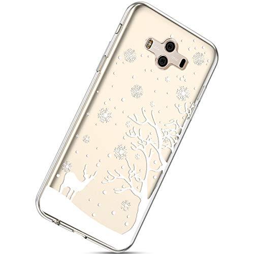 Handytasche Huawei Mate 10 Weihnachten Handyhülle Durchsichtig Schutzhülle Silikon Dünn Case Transparent Handyhüllen Kirstall Clear Case Etui TPU Bumper Schale,Schneeflocke Hirsch