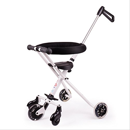 CAH-Travel Systems Artefacto para Niños Resbalado Triciclo para Niños Carro Ligero para Doblar 3-8 Años Muñeco para Bebés Coche para Bebés con Artefacto Infantil,White