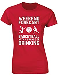 HippoWarehouse Weekend Forecast Basketball with a Chance of Drinking womens fitted short sleeve t-shirt