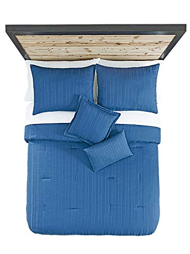 Cotton 5Stück Tröster Set Dobby Stripe Blau King -