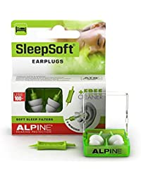 Alpine Sleepsoft Ear Plugs for Sleeping - Reduces Snoring and Improves Sleep - Soft Filters Designed for Side Sleeping - Comfortable Hypoallergenic Material - Reusable Earplugs