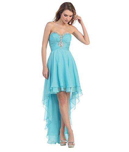 LuckyShe Elegant Seidenchiffon Abendkleider Ballkleider Partykleider Vorne Kurz Hinten Lang 24#