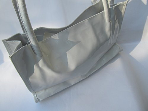 schwarz, weiß oder pink gesteppt Lackleder glänzend Kunstleder Damen hochwertige Handtasche Geldbörse - von fett-catz-kopie-catz weiß Handtasche aus Lackleder