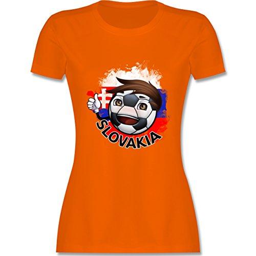EM 2016 - Frankreich - Fußballjunge Slowakei - tailliertes Premium T-Shirt mit Rundhalsausschnitt für Damen Orange