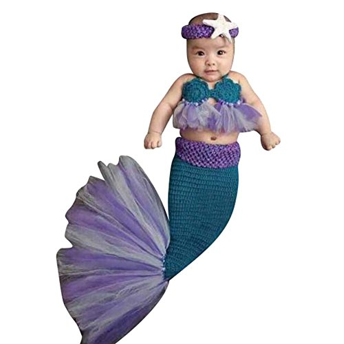 Highdas Fotoshooting Meerjungfrau Neugeborene Baby Kostüm Fischschwanz Handgefertigte Kostüm Crochet Props (Dunkelblau)