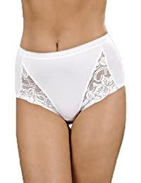 Camille Womens Ladies Three Pack White Floral Lace Maxi Briefs