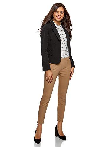 oodji Collection Damen Taillierter Blazer Basic Schwarz (2900N)