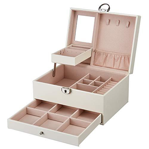 DCCN Boîte à Bijoux en Cuir PU 3 Plateaux Coffret à Bijou Femme Fille Elegant (D-Blanc)