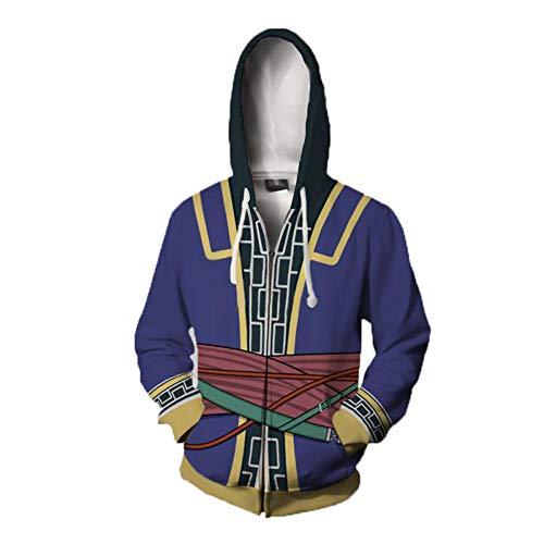 IDEALcos 3D-Stil Zip Up Hoodie Kapuzenpullover Fire Emblem Kostüm Jacke Unisex (XL, Blau) - Adult Premium Hoodie