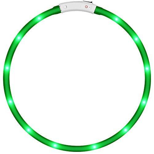 LED Collar de perro de mascota, KEKU llevó USB recargable collar de seguridad para mascotas impermeable hasta la longitud de 50 cm (19.5in) Collar de destello ajustable (verde)