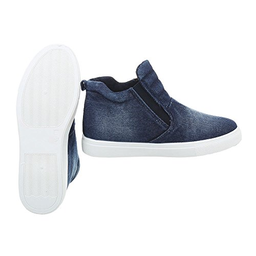 Ital-Design Scarpe da Donna Sneaker Piatto Sneakers High blu D18