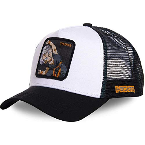Maneray Sombrero de Dragon Ball Gorra de Béisbol Anime Goku Papeles Borde Curvo Snapback Negro Gorra de Visera TRUNKS