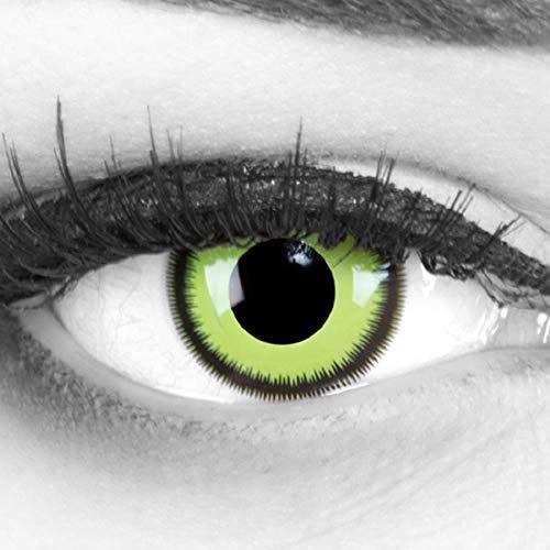 (MeralenS ein Paar farbige Crazy Fun grüne lunatic Green Lunatic schwarzer Rand Jahres Kontaktlinsen. Perfekt zu Halloween, Karneval, Fasching oder Fasnacht mit gratis Kontaktlinsenbehälter ohne Stärke!)