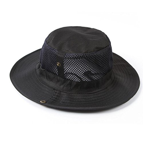 Covermason Men Outdoor Camping pêche Cap Sun Protection Boonie Chapeau large Brim Noir