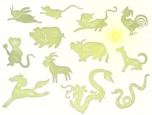 Unbekannt 3-D Glow in the Dark ! Leucht Figuren Tierkreiszeichen chinesischer Kalender - zum Hinhängen / Wandtattoo / Fensterbild / Sticker - leuchtet im Dunklen Glowin..
