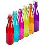 Cristal Botella 1L Decoración 6Colores Multicolor con bügerlverschluss Deko Juego de 4bho1K