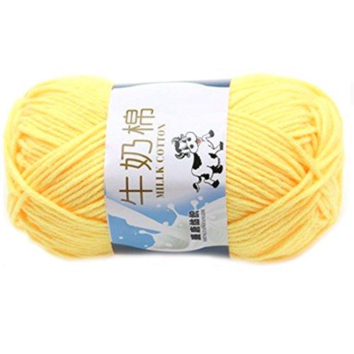Glatte weiche Milch Cotton Natural Hand Strickwolle Garn Ball Baby Wool Craft Gelb -