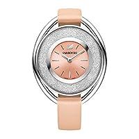 سواروفسكي ساعة رسمية للنساء انالوج بعقارب جلد زهري، 5158546