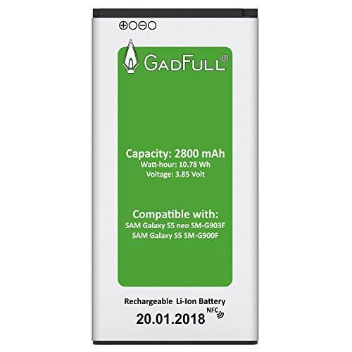 GadFull® Premium Akku für Samsung Galaxy S5 | 2018 Baujahr | wie EB-BG900BBE EB-BG900 | Galaxy S5 SM-G900F | Batterie Accu Battery