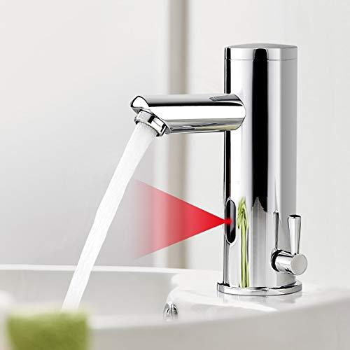 AuraLum Grifo Sensor Automático para Agua Fría y Caliente, Sin-contacto Mezclador para Lavabo de Baño