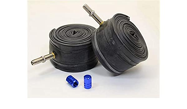 """COLOURED ALLOY DUST CAPS!!! PAIR 20/"""" x 1.90 SCHRADER Valve Bicycle Inner Tubes"""
