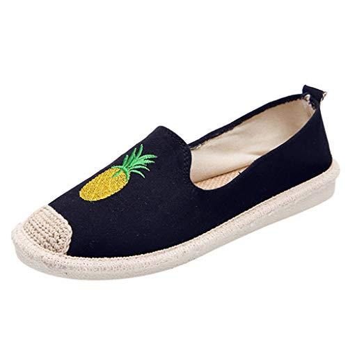 Fenverk Damen Halbschuhe | Slip-Ons Freizeit | Flach Bequeme Slipper Flats Turnschuhe Sneaker Gr. 35-40(Black,38 EU) -