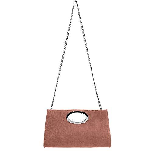 CASPAR TL699 große Damen XXL Wildleder Clutch Tasche Handtasche Abendtasche Ledertasche Altrosa