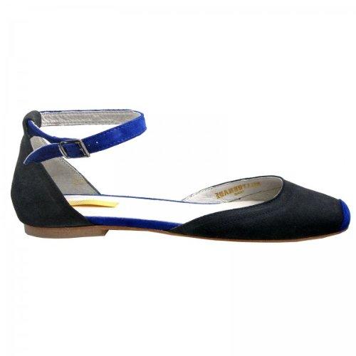 - Ballerines à bride cuir velours daim doublé cuir pointure - , Couleur - Bleu
