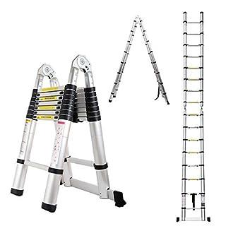 DIY 5M / 2.5M+ 2.5M Foldable Ladder A Frame Telescopic Aluminium Extendable Extension 16 Steps 150kg Max. Capacity Multipurpose Portable Loft Attic Ladders