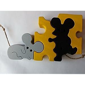 Holz Puzzle spiel mäuse maus im Käse handgemachtes Tier spielzeug geschenk für Kinder Buchen holz spielzeug