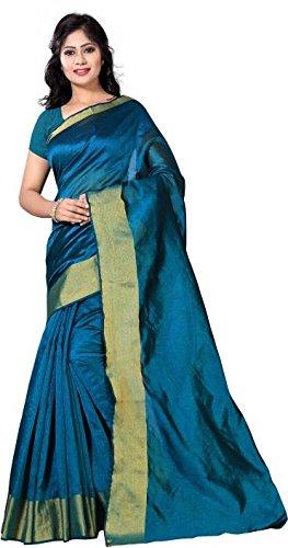 Vimalnath Synthetics Solid Fashion Cotton Saree (Turquoise)