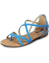 Get Glamr Women's Blue Sandals (Get (GET-1447) - 7 UK