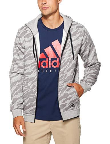 adidas Herren Essentials AOP Full Zip Kapuzen-Jacke, Medium Grey Heather, M -