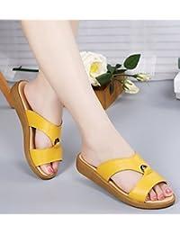 YAANCUN Mujeres Cuero Sandalias Para Zapatos De Las Del Verano De Las Atín Sandalias Planas