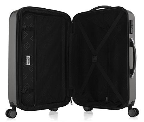 HAUPTSTADTKOFFER Alex - NEU 4 Doppel-Rollen Handgepäck Hartschalen-Koffer Trolley Rollkoffer Reisekoffer, 55 cm, 42 L, Titan -