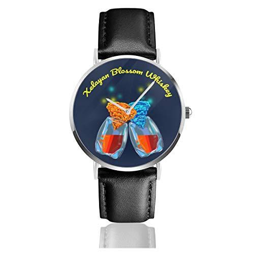 The Orville Xelayan Blossom Whisky-Uhr, Quarzuhrwerk, Lederarmband, für Herren und Damen, Geschenk