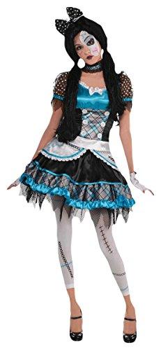 chen Karneval Halloween Kostüm Shattered Doll, Mehrfarbig, Größe 140-152, 10-12 Jahre (Damen-scary Doll-kostüm)