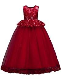 Abito Bambina Principessa Vestito da Cerimonia per la Damigella Pizzo  Matrimonio Carnevale Tutu Compleanno Festa Sera 1d1ac0e71a8